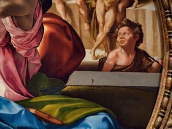 Michel-Ange Buonarroti, saint Jean-Baptiste dans la Sainte Famille du Tondo Doni, 1507, Galerie Offices Uffizi, Florence Italie