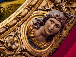 Michel-Ange Buonarroti, Sculptures du cadre de la Sainte Famille Tondo Doni, 1507, Galerie Offices Uffizi, Florence Italie