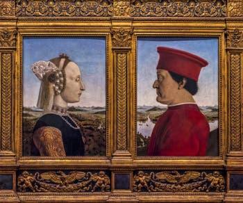 Piero della Francesca, Diptyque Battista Sforza et Federigo II da Montefeltro, 1465-1472, à la Galerie des Offices, les Uffizi à Florence en Italie