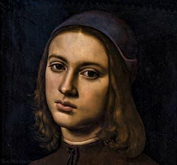 Perugino, Portrait d'un jeune homme, 1494, à la Galerie des Offices, les Uffizi à Florence en Italie