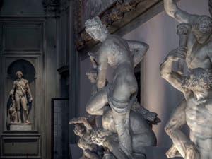 Giambologna, Triomphe de Florence sur Pise, 1565, salle des Cinq Cents, dei Cinquecento du Palazzo Vecchio, Florence Italie