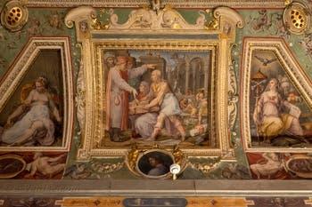 Giorgio Vasari, Brunelleschi et Ghiberti présentent à Cosme l'Ancien la maquette de l'église de San Lorenzo, salle Cosme l'Ancien au Palazzo Vecchio à Florence en Italie.