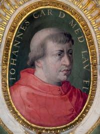 Giorgio Vasari, Portrait de Giovanni de Médicis, futur pape Léon X, salle Laurent de Médicis au Palazzo Vecchio à Florence en Italie.