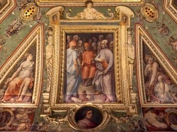Giorgio Vasari, Cosme l'Ancien entouré de lettrés et d'artistes, salle Cosme l'Ancien au Palazzo Vecchio à Florence en Italie.