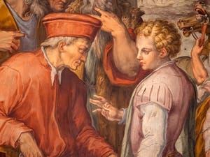 Giorgio Vasari, Cosme l'Ancien révèle à Sante Bentivoglio son origine pour gouverner Bologne, salle Cosme l'Ancien au Palazzo Vecchio à Florence en Italie.