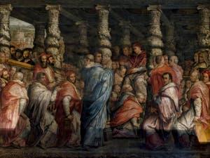 Giorgio Vasari, Giovanni Stradano, Salle du Cardinal Giovanni de Médicis, Pape Léon X, Palazzo Vecchio, Florence Italie