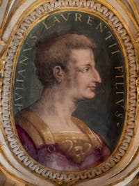 Giorgio Vasari, Julien de Médicis, fils de Laurent le Magnifique, salle Laurent de Médicis au Palazzo Vecchio à Florence en Italie.