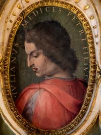 Giorgio Vasari, Giuliano de Médicis, frère de Laurent le Magnifique, salle Laurent de Médicis au Palazzo Vecchio à Florence en Italie.