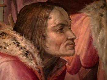 Giorgio Vasari, Laurent le Magnifique se rend à Naples voir le Roi Ferdinand d'Aragon, salle Laurent de Médicis au Palazzo Vecchio à Florence en Italie.