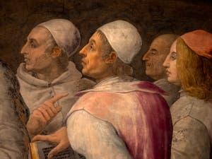Giorgio Vasari, Laurent le Magnifique entre Philosophes et Lettrés, salle Laurent de Médicis au Palazzo Vecchio à Florence en Italie.