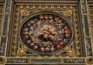 Apothéose de Cosimo Ier, Plafond de la Salle des Cinq Cents, dei Cinquecento, Palazzo Vecchio à Florence en Italie