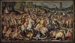 Giorgio Vasari, Giovanni Battista Naldini, Défaite des Pisans à Torre San Vincenzo, 1568-1571, Salle Cinquecento des Cinq Cents du Palazzo Vecchio, Florence Italie