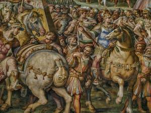Giorgio Vasari, Giovanni Battista Naldini, L'empereur d'Autriche Maximilien lève le siège de Livourne en 1496 et bat en retraite, 1568-1571, Salle Cinquecento des Cinq Cents du Palazzo Vecchio, Florence Italie