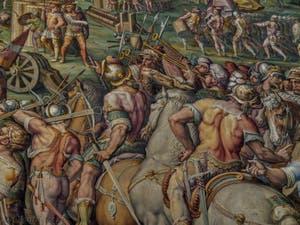 Giorgio Vasari, Giovanni Battista Naldini, La prise en 1499 par les Florentins de la forteresse du rocher de Stampace à Pise, 1568-1571, Salle Cinquecento des Cinq Cents du Palazzo Vecchio, Florence Italie