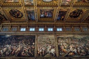 Giorgio Vasari, les trois fresques représentant la guerre de Florence contre Sienne dans la salle dei Cinquecento, des Cinq Cents, du Palazzo Vecchio à Florence