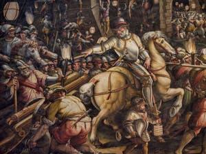 Giorgio Vasari, Giovanni Battista Naldini, La prise le 26 janvier 1554 par les Florentins des forts siennois près de Porta Camollia, 1570, Salle Cinquecento des Cinq Cents du Palazzo Vecchio, Florence Italie