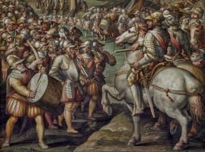 Giorgio Vasari, Giovanni Battista Naldini, La prise par les Florentins de Porto Ercole le 21 avril 1555 après 24 jours de siège, 1568-1570, Salle Cinquecento des Cinq Cents du Palazzo Vecchio, Florence Italie
