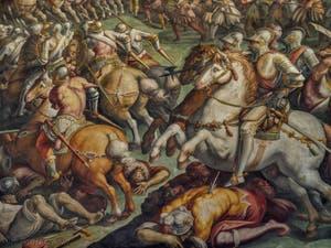 Giorgio Vasari, Jacopo Zucchi, La bataille de Marciano dans le Val di Chiana, 1570-1571, Salle Cinquecento des Cinq Cents du Palazzo Vecchio, Florence Italie