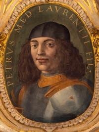 Giorgio Vasari, Pierre II de Médicis, fils de Laurent le Magnifique, salle Laurent de Médicis au Palazzo Vecchio à Florence en Italie.