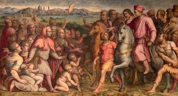 Giorgio Vasari, Retour de l'exil de Cosme l'Ancien, Salle Cosme l'Ancien au Palazzo Vecchio à Florence en Italie.