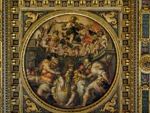 Giorgio Vasari, Giovanni Stradano, Allégories des quartiers de Santo Spirito et de Santa Croce, 1563-1565 plafond de la Salle des Cinq Cents, dei Cinquecento, Palazzo Vecchio à Florence en Italie