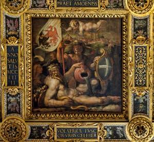 Giorgio Vasari, Giovanni Stradano, Allégorie de Volterra, 1563-1565, plafond Salle des Cinq Cents, Cinquecento, Palazzo Vecchio à Florence en Italie