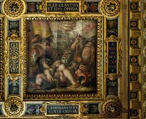 Giorgio Vasari, Giovanni Stradano, Allégorie de Colle val d'Elsa et San Gimignano, 1563-1565, plafond Salle des Cinq Cents, Cinquecento, Palazzo Vecchio à Florence en Italie