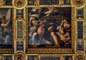 Giorgio Vasari, Giovanni Stradano, Allégorie d'Arezzo, 1563-1565, plafond Salle des Cinq Cents, Cinquecento, Palazzo Vecchio à Florence en Italie
