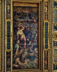 Giorgio Vasari, Giovanni Stradano, Défaite des Turcs à Piombino, 1563-1565, plafond Salle des Cinq Cents, Cinquecento, Palazzo Vecchio à Florence en Italie