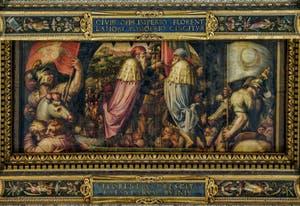 Giorgio Vasari, Giovanni Stradano, Union de Florence et Fiesole, 1563-1565, plafond Salle des Cinq Cents, Cinquecento, Palazzo Vecchio à Florence en Italie