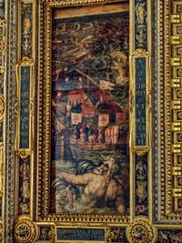 Giorgio Vasari, Giovanni Stradano, Bataille navale de 1509 entre Florentins et Pisans, 1563-1565, plafond Salle des Cinq Cents, Cinquecento, Palazzo Vecchio à Florence en Italie
