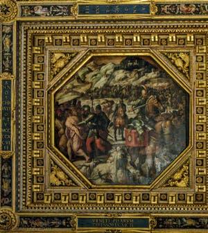 Giorgio Vasari, Giovanni Stradano, Défaite des Vénitiens en 1498 à Casentino, 1563-1565, plafond Salle des Cinq Cents, Cinquecento, Palazzo Vecchio à Florence en Italie