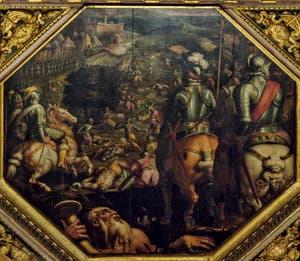 Giorgio Vasari, Giovanni Stradano, Bataille de Marciano au Val di Chiana, 1563-1565, plafond Salle des Cinq Cents, Cinquecento, Palazzo Vecchio à Florence en Italie