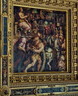 Giorgio Vasari, Giovanni Stradano, Triomphe après la victoire de Pise, 1563-1565, plafond Salle des Cinq Cents, Cinquecento, Palazzo Vecchio à Florence en Italie