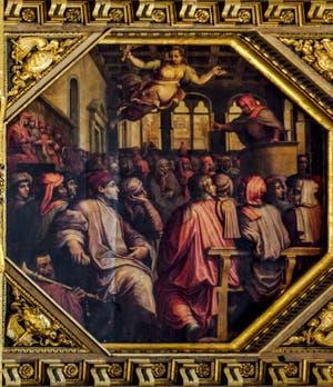 Giorgio Vasari, Giovanni Stradano, Discours d'Antonio Giacomini pour la guerre contre Pise dans la salle du Duecento, 1563-1565, Salle des Cinq Cents Palazzo Vecchio à Florence en Italie