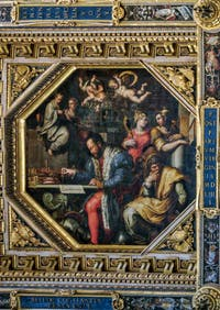 Giorgio Vasari, Giovanni Stradano, Cosimo Ier de Médicis réfléchit à la conquête de Sienne, 1563-1565, plafond Salle des Cinq Cents, Cinquecento, Palazzo Vecchio à Florence en Italie