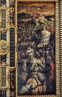Giorgio Vasari, Giovanni Stradano, La prise du fort de Monastero, 1563-1565, plafond Salle des Cinq Cents, Cinquecento, Palazzo Vecchio à Florence en Italie