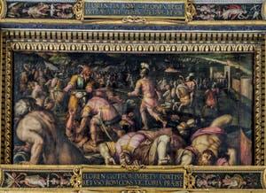 Giorgio Vasari, Giovanni Stradano, Défaite de Ragadisio, roi des Ostrogoths, par les Romains à Fiesole en 405, 1563-1565, plafond Salle des Cinq Cents, Cinquecento, Palazzo Vecchio à Florence en Italie