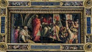 Giorgio Vasari, Giovanni Stradano, Le Pape Clément VI offre son emblème aux Guelfes, 1563-1565, plafond Salle des Cinq Cents, Cinquecento, Palazzo Vecchio à Florence en Italie