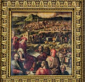 Giorgio Vasari, Giovanni Stradano, Arnolfo di Cambio présente son projet de nouvelle enceinte fortifiée de Florence à la Signoria, 1563-1565, salle Cinquecento, Palazzo Vecchio à Florence en Italie