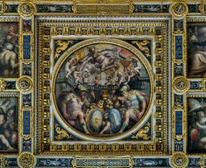 Giorgio Vasari, Giovanni Stradano, Allégorie des quartiers de San Giovanni et Santa Maria Novella, 1563-1565, salle Cinquecento, Palazzo Vecchio à Florence en Italie