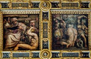 Giorgio Vasari, Giovanni Stradano, Allégories de Mugello et Casentino, 1563-1565, plafond Salle des Cinq Cents, Cinquecento, Palazzo Vecchio à Florence en Italie