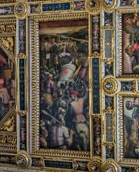 Giorgio Vasari, Giovanni Stradano, Capture de Casina, 1563-1565, plafond Salle des Cinq Cents, Cinquecento, Palazzo Vecchio à Florence en Italie