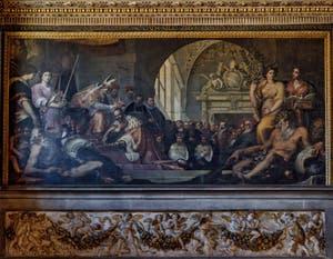 Jacopo Ligozzi, el Papa Pío V corona a Cosme I de' Medici, Gran Duque de Toscana, Sala de los Quinientos, Cinquecento Palazzo Vecchio en Florencia Italia