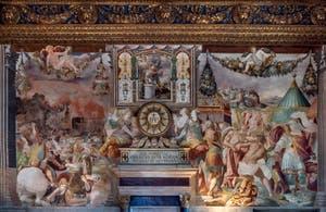 Francesco Salviati, Défaite des Volsques et Furio Camillo fait punir pour sa trahison le maître des Falerii, salle des audiences du Palazzo Vecchio à Florence en Italie.