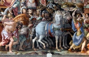 Francesco Salviati, Triomphe de Furio Camillo après la prise de Veio, salle des audiences du Palazzo Vecchio à Florence en Italie.