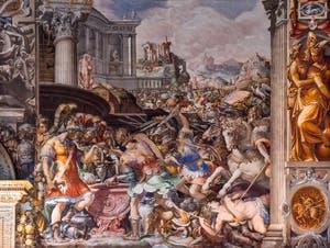 Francesco Salviati, La pesée de l'or par les Gaulois et l'intervention de Furio Camillo, salle des audiences du Palazzo Vecchio à Florence en Italie.