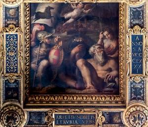 Giorgio Vasari et Giovanni Stradano et et Giovanni Battista Naldini, Allégorie d'Arezzo, Plafond de la Salle des Cinq-Cents du Palazzo Vecchio à Florence.