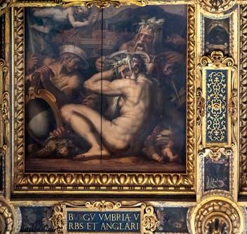 Giorgio Vasari et Giovanni Stradano, Allégorie de Borgo San Sepolcro et Anghiari, Plafond de la Salle des Cinq-Cents du Palazzo Vecchio à Florence.
