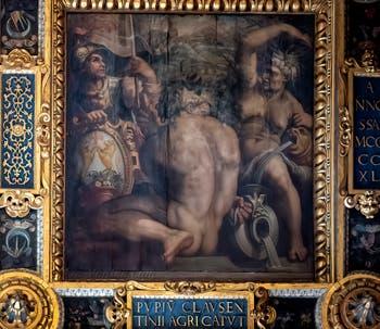 Giorgio Vasari et Giovanni Stradano, Allégorie du Casentino, Plafond de la Salle des Cinq-Cents du Palazzo Vecchio à Florence.